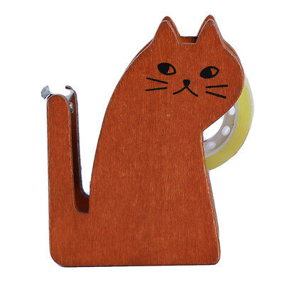 Wooden Cat Tape Dispenser  With Cutter Machine for School Office KI