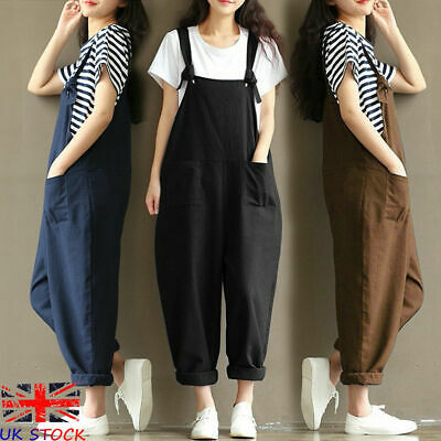 UK Womens Playsuits Baggy Overalls Strappy Dungarees Ladies Jumpsuits Trousers