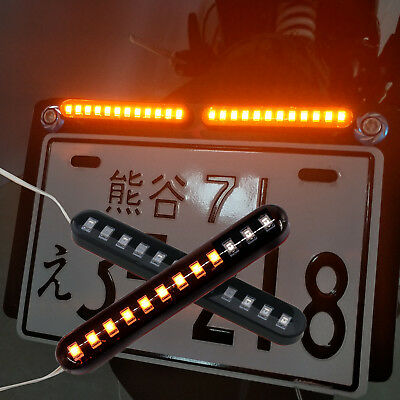 2 x Sequential Flowing Motorcycle 12 LED Strips Mini Strips Turn Signal Light