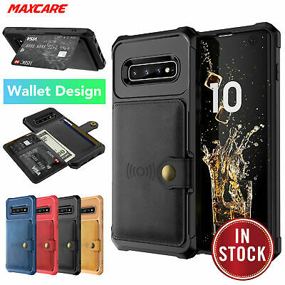 Samsung Galaxy S10 S10+ Plus S10e Case, Leather Wallet Card Shockproof Cover
