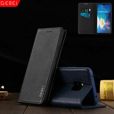 For Huawei Mate 20 10 Pro GEBEI Genuine Leather Wallet Magnetic Flip Case Cover