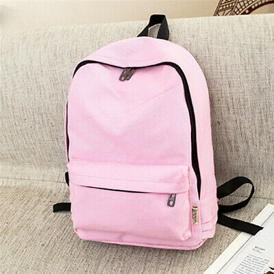 Bohemia Trendy Canvas Backpack Women Travel School Office Bag Pure Color N7