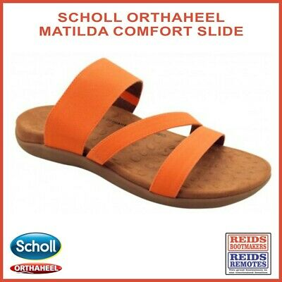 Scholl Orthaheel Matilda arch support slides in orange with elasticated straps