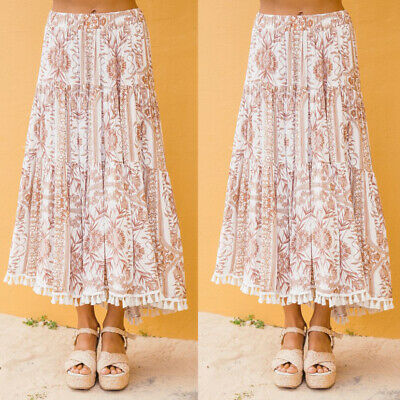 UK New BOHO Ladies Floral Jersey Gypsy Long Maxi Full Skirt Sun Dress 6-14