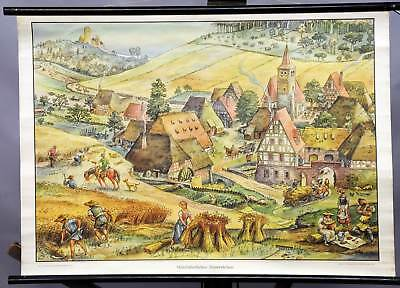 vintage pull-down wall chart poster print medieval farming life village rural