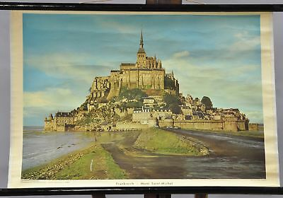 vintage poster rollable wall chart France Mont St. Michel Normandy