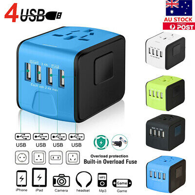 4 USB Converter Travel Adapter International Charging Charger AU / UK / US Plugs