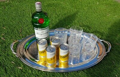 """Large 20"""" oval vintage silver plate drinks chased gallery serving tray cocktails"""
