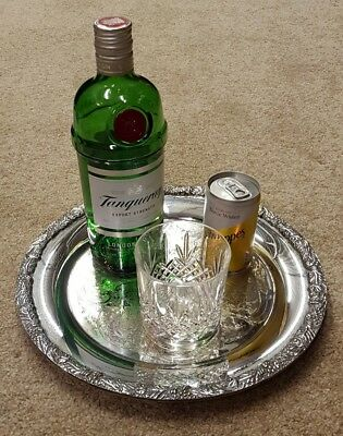 """12"""" vintage round silver plated drinks serving tray cocktail platter tea ornate"""