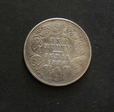 1886 India One Rupee Silver Coin.