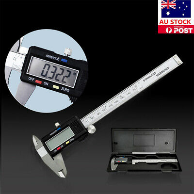 AU Stainless Steel Vernier Caliper LCD Electronic Digital Gauge Fiber 150mm 6''