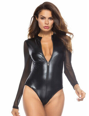 Sexy Shiny Black Wet PVC Look Latex Grease Mini Body Play Suit Cat Valentines