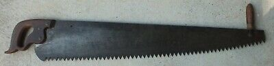 Vintage Disston One Man Crosscut Logging Saw With Helper Handle Usa S20
