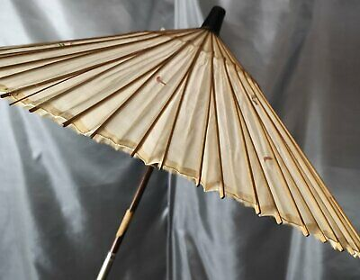 Antique Chinese silk parasol, bamboo handle