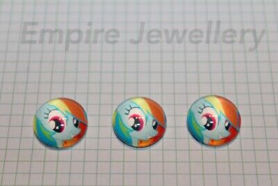 2 x My Little Pony #2 12x12mm Glass Cabochons Cameo Dome Hasbro Horse Friendship