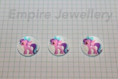 2 x My Little Pony #3 12x12mm Glass Cabochons Cameo Dome Hasbro Horse Friendship