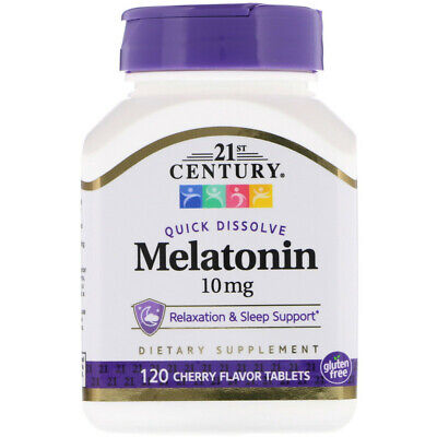 Melatonin, 21 century Cherry Flavor, 10 mg, 120 Quick Dissolve Tablets