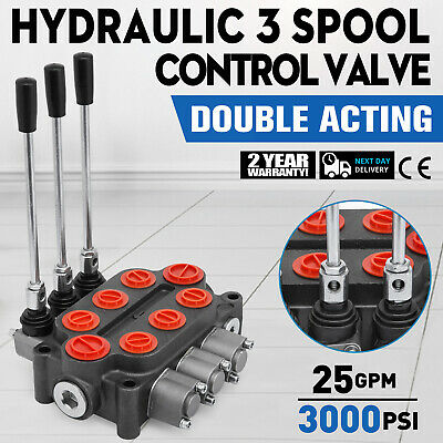 3 Spool 25 GPM RD532CCCAAA5A4B1 Hydraulic Valve Double Acting 3000 PSI