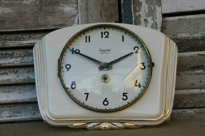 French Vintage Ceramic Wall Clock by Bayard, Off- White with Gold Trim