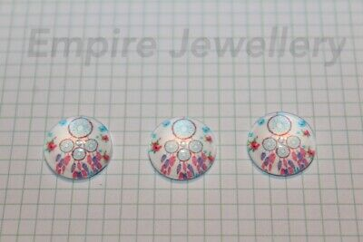 2 x Dreamcatcher #2 12x12mm Glass Cabochons Cameo Dome Native American Sleep