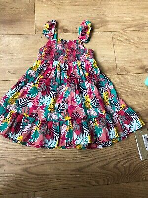 M&S Baby Girl 9-12 Months Summer Dress Multi Colour Bright Holiday New With Tags