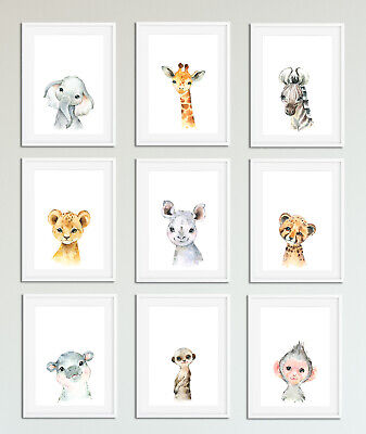 Watercolour Baby Safari Animal Prints