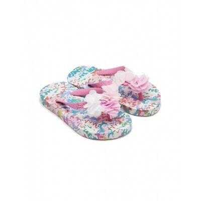 Joules 201367 Girls Rubber Slip On Summer Flip Flops White Mermaid Floral
