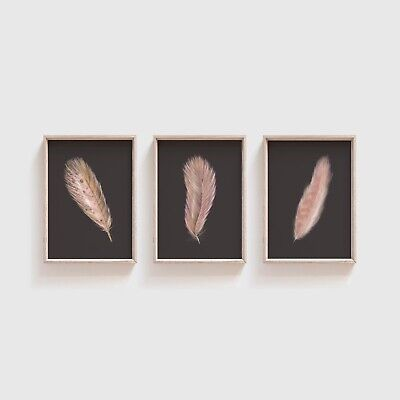 Rose Pink Feather Print Set, Minimalist Pictures for Living Dining Room, Decor