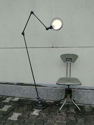 """JIELDE FRENCH INDUSTRIAL 3 ARMS TABLE FLOOR READING LAMP GRAPHITE 1x 47""""+2x 16"""""""