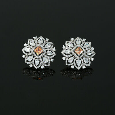 Cz Clip On Shiny Silver Rhodium Plated Floral Stud Earrings Jewellery For Women