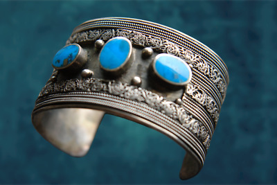 Antique Silver Ottoman Filigree bracelet turquoise ethnic navajo handcrafted