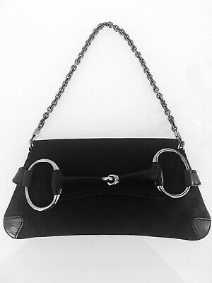 e1e7dec315082e Auth Gucci Horse Bit Shoulder Clutch Bag, Black, Silver Smoke Chain, + Dust