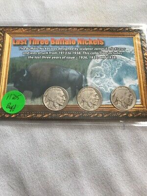 Set Of Last 3 Buffalo Nickels 1936,37&38D In Set #H705