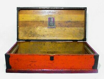 Early 20Th C Vint 'Buddy L' Red & Black Painted Wooden Tool Chest Box, W/Handles