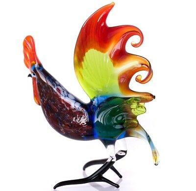 "Rooster Blown Glass ""Murano"" Art Home Decor Figurine"