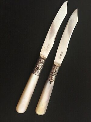 Pair (2) Vintage 1800's England Sterling Silver Fruit Knife Pearl Hallmarked