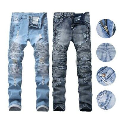 Men Skinny Jeans Biker Destroyed Frayed Fit Denim Ripped Pants Casual Trousers