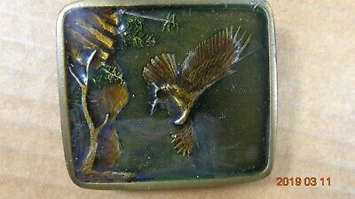 EAGLE Vintage 1977 Belt Buckle by Indiana Metal Craft Enameled Brass