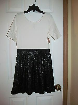 NWT Girls White top with BLACK SEQUIN DRESS, Total Girl, Size Medium 8, Adorable