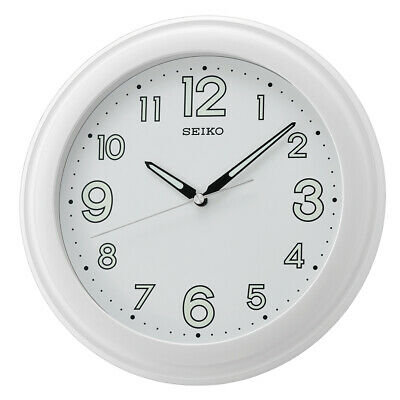 Seiko LumiBrite Wall Clock with Large Numbers White Quartz Battery Power