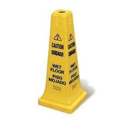 Safety Cone, Caution Wet Floor, English Spanish RUBBERMAID FG627777YEL LOT OF 2