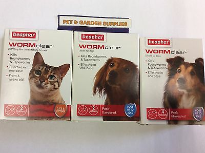 Beaphar WORM clear, Cat, Kitten & Dog, Puppy Worming Tablets OR FLEA COMB