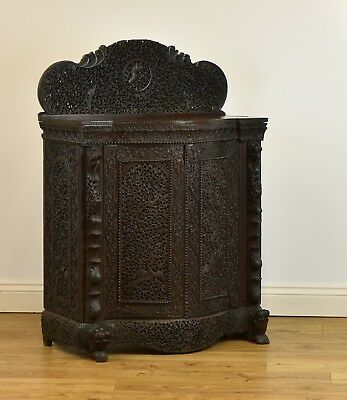 ANTIQUE BURMESE SERPENTINE CARVED SIDE CABINET SMALL SIDEBOARD 19th Century
