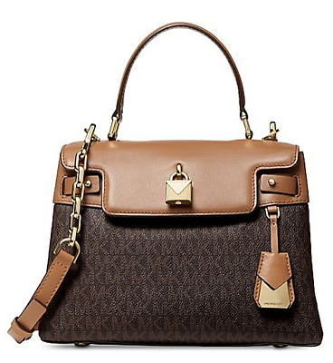 04458ab1b2ed69 🌺🌹Michael Kors Gramercy Top Handle Satchel Brown-Acorn-Gold Original Pkg