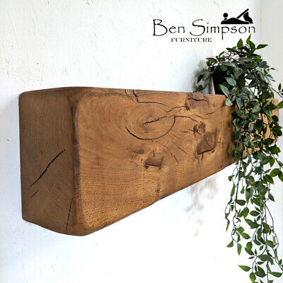 Rustic Oak Beam Mantel | Chunky Solid Mantelpiece | Floating Shelf Mantle 10x15