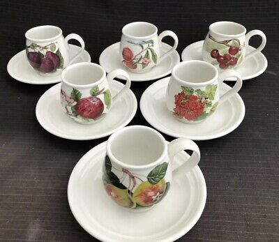 Portmeirion - Pomona - 6 x Coffee Cups & Saucers - Excellent Condition