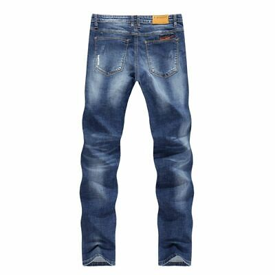 20b9578d Stretch Thin Business Casual Slim Straight Jeans Bleached Denim Classic  Pants