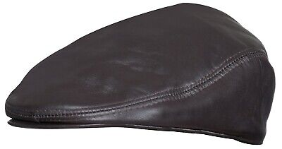 Mens Brown Real Soft Leather Ivy Beret Newsboy Gatsby Golf Cabbie Flat Cap Hats