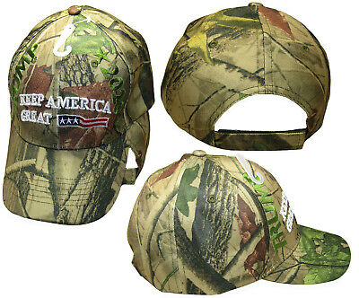 b5375d3034ce5 Trump 2020 Keep America Great Woodland Camouflage USA Front Embroidered Cap  Hat