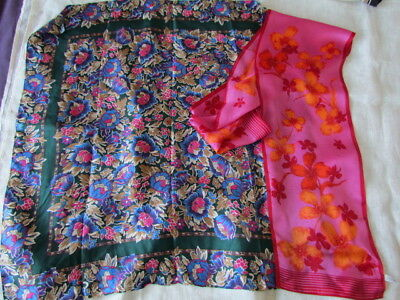 Anne Klein Scarves Lot Floral Abstract large Silk Twill Oriental  New Blue Pink